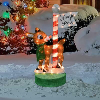 rotating rudolph the red nosed reindeer sculpture outdoor christmas yard decor