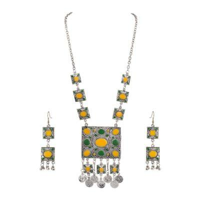 Zephyrr Fashion Oxidized Silver Afghani Style Pendant Necklace Earrings Set
