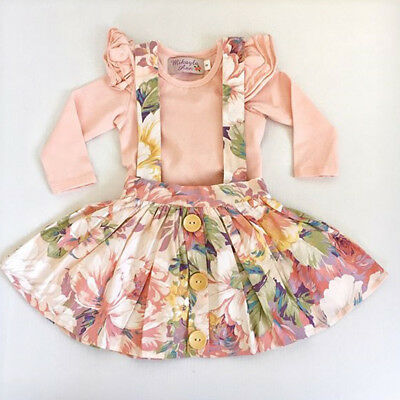 US Stock Newborn Baby Girls Romper Tops Dress Outfits Set Toddler Casual Dresses