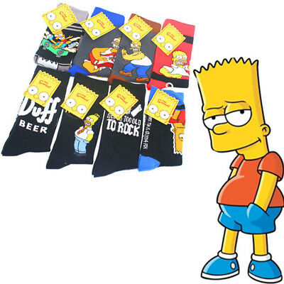 Fashion Mens Cotton Socks Lot Warm The Simpsons Cartoon Casual Dress Socks 7-12