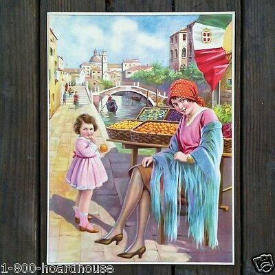 Vintage Old Art Lithograph MERCHANT CHILD FRUIT STAND Print 1920s NOS Unused