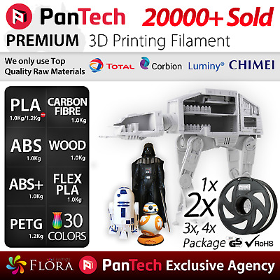 PanTech 3D Printing Filament PETG  PLA ABS + WOOD Carbon Fibre 1KG Printer PLS