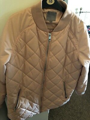 Next Pink Size 16 Quilted Padded Jacket Fleece Pockets Very Good Conditon Womens