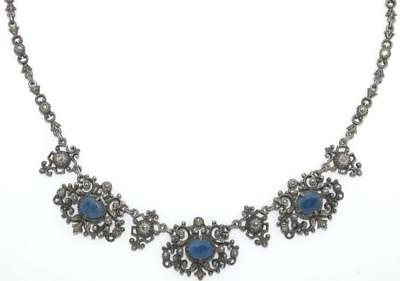 """16"""" Antique Victorian Sterling Marcasite Sapphire Riviere Necklace from Gernany"""