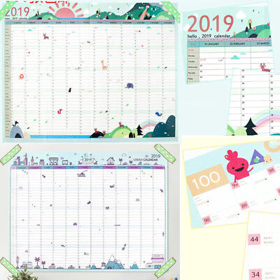 2019 Calendar Planner Daily Schedule Paper Wall Sticker Lovely Gift Stationery