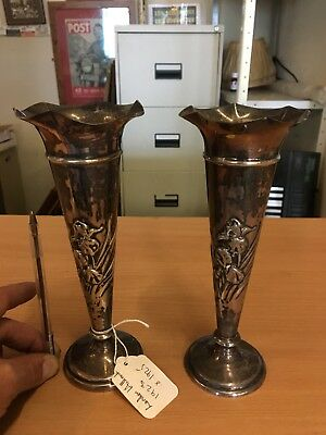 A Pair Of Solid Silver Trumphet Vases