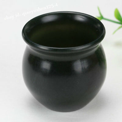 43MM Chinese Hetian Gray Jade Hand Carved Cann Wine Cup Drinking Vessel 新疆和田青玉酒杯