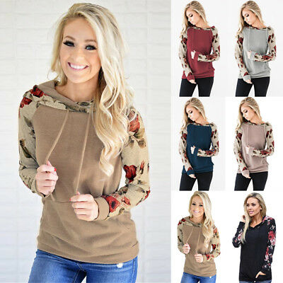 Plus Size 6-22 Womens Hoodies Sweatshirt Ladies Jumper Sweater Hooded Floral Top