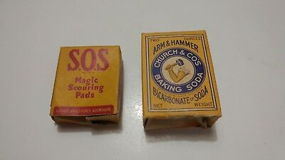 RARE Pair Old Vintage Advertising SOS Pads Arm & Hammer Baking Soda Sample Boxes