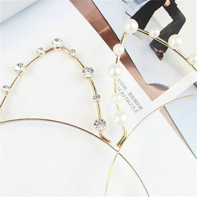 Women Girl Rhinestone Cat Hollow Ears Party Hair Headband Band For Party LH