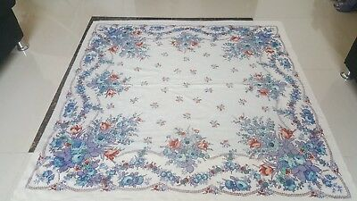 """Antique Russian print piano Rose shawl size 57""""By 55cm 144x139excellent conditio"""