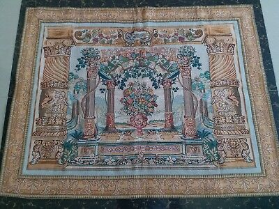 """Antique 19c Aubusson French Tapestry Beautiful Color View size 45""""x35""""(cm115x90)"""