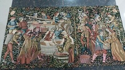 "Antique 19c Aubusson French TapestryWine making  Rcae View 26""X49""(Cm 67×125"