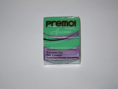 NEW 57g (2 oz) SCULPEY PRIMO! ACCENTS  OVEN BAKE CLAY - 5048 TRANSLUCENT GREEN