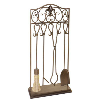Vintage Antique Brass Finish Free Standing Fireside Fireplace Fire Companion Set