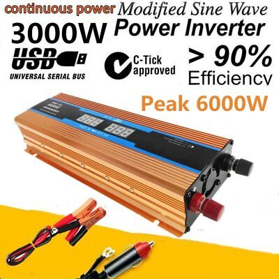 6000W Peak LED Power Inverter Converter USB Output Charger DC 12V to AC 110V QC