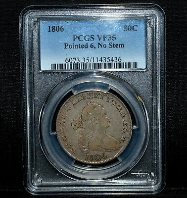 1806 Draped Bust Half Dollar ✪ Pcgs Vf-35 ✪50C Pointed 6 No Stem Silver◢Trusted◣