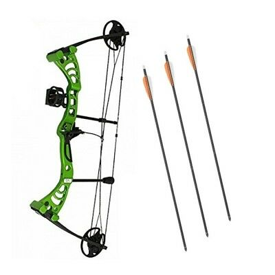 Compound Bow Green Monster Powerful Adult Set Kit Right Hand + Sight Rest Arrows