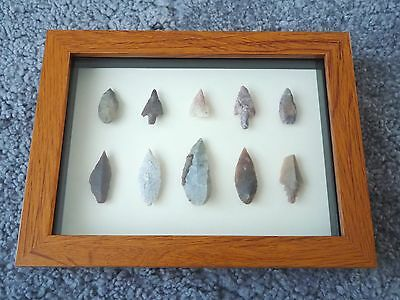 Neolithic Arrowheads in 3D Picture Frame, Authentic Artifacts 4000BC (0452)