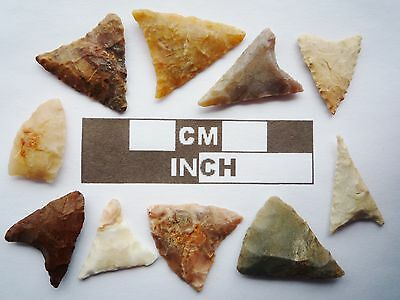 Neolithic Arrowheads, 10 x Triangle Artifacts - 4000BC - (R024)