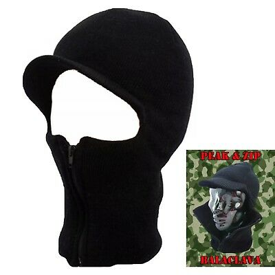 Black Zip Balaclava Cap Mask Winter Army Style Ski Hat Neck Warmer Paintball