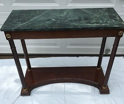 Bombay Company Green Marble Top Neoclassical Hall Foyer Sofa Table