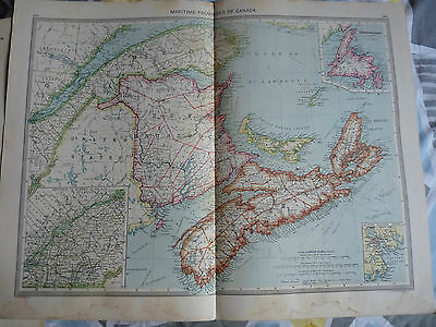 1900/1908   Harmsworth Universal Antique Map of  Maritime Provinces of Canada
