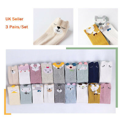 UK Baby Kid Girl Boy unisex Knee High Socks Stockings Pack of 3,Cute Print Socks