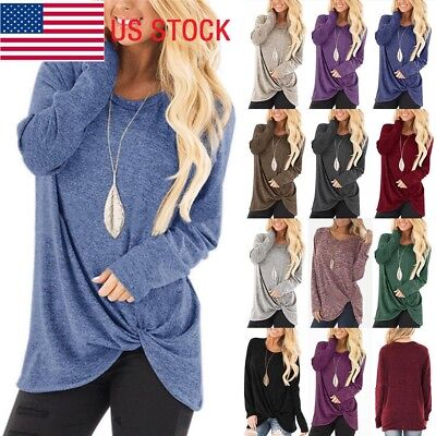 Womens Fall Autumn Long Sleeve Pure Casual T-shirt Lady Loose Tops Blouse Bottom