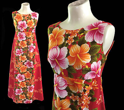 8243999b50e9 VINTAGE 60's UI MAIKAI BARKCLOTH EMPIRE WAIST MAXI DRESS ORANGES HAWAIIAN  PRINT