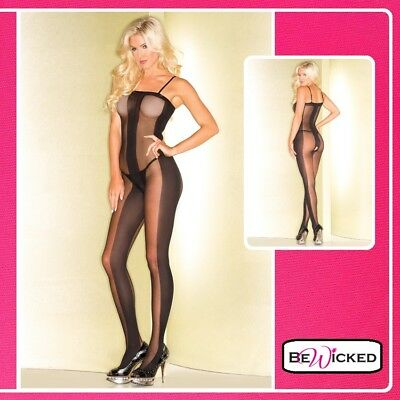 Erotic Sexy Bodystocking Catsuit Partially Translucent Design Intimo DONNA hot