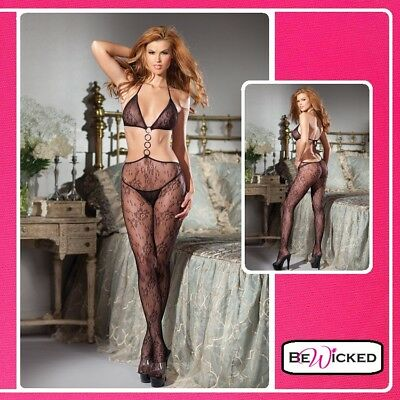Erotic Sexy Bodystocking con anelli Open Catsuit With Rings Intimo Donna tuta