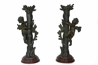 A Pair of Antique Baroque-style Bronze Cherub Candle Holders