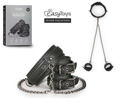 TOY SEX Collare e cavigliere in ecopelle Restraint Set Sexy Bondage Fetish bdsm
