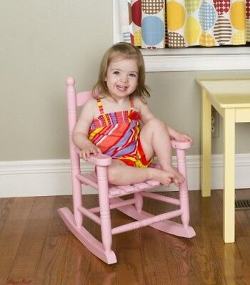 Toddler Rocking Chair Small Pink Portable Wooden Children Bedroom Furniture NEW