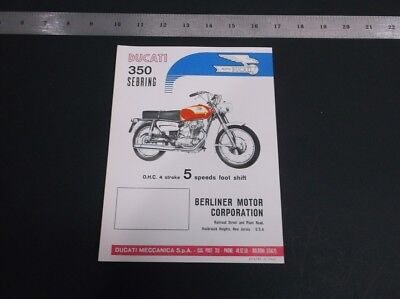 Vintage 1960's Ducati Sebring Motorcycle Literature (Printed Italy In )*g-Cond*