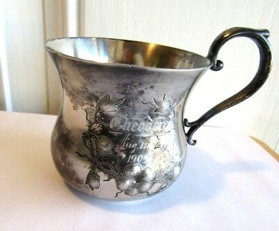 1902 St. Louis Silver  Baby Cup Raised Floral Decor Quadruple Plate W Theodore