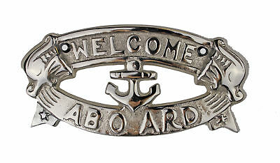 """Welcome Aboard Aluminum Plaque with Nickel Finish 8"""" Hanging Nautical Boat Ship"""
