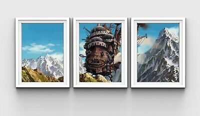 3 x Studio Ghibli Howl's Moving Castle Limited Edition Prints - A3 Anime Posters