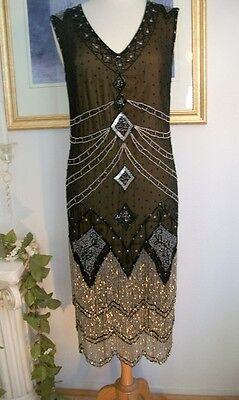 1920s Black Silver BEADED Fringe FLAPPER Dress-S,M,L, XL or Plus sizes