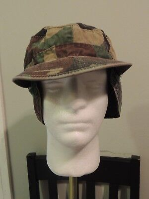 U.S. Military Issue Woodland Camo Cold Weather BDU Cap with Ear Flaps 5 3/8