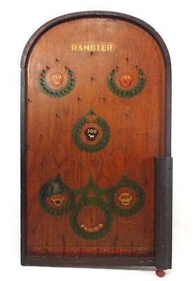 Bagatelle The Rambler Vintage 1930's Pinball Wooden Game Board W/varnish/decals