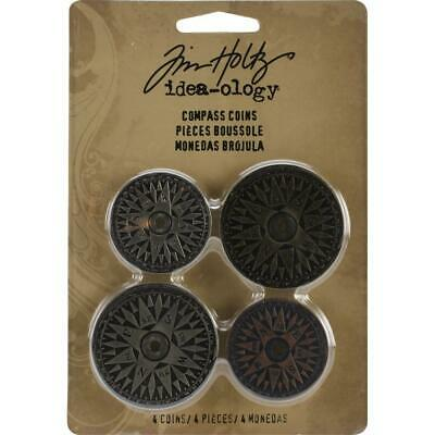 Tim Holtz Idea-Ology - Metal Findings - Compass Coins - 4 Pieces