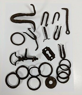 Old Vintage Antique Rusted Rings Hooks and other Hardware Lot of 21 Colonial?