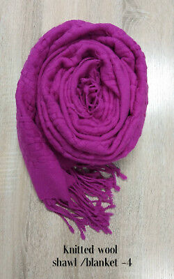 Discounted Women Winter Warm Soft 100% MERINO WOOL Blanket Scarf Wrap Shawl