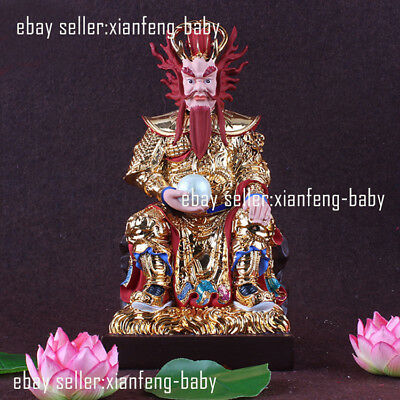 Dragon King Taoism Buddha Statue Colored Altar Handmade Resin Blessing