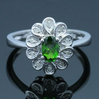 14K White Gold Oval 6x4mm Peridot Diamond Engagement Wedding Ring Flower Jewelry