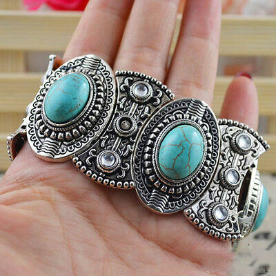 Chic Boho Womens Retro Vintage Natural Turquoise Tibetan Silver Bracelet Cuff、WG