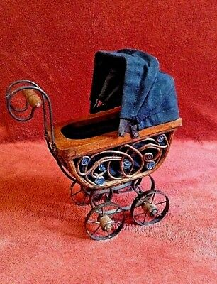 Antique Pram Vintage Baby Doll Carriage / Stroller / Buggy - Cloth & Wicker Wood