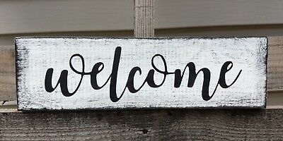 Welcome Farmhouse Wood Sign Front Door Entry Rustic Wood Sign